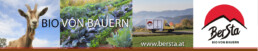 Transparent von Bersta mit Gemüse, Ziege, fahrenden Bersta-Bus und Logo